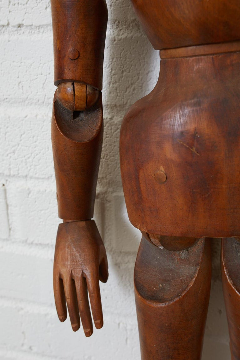19th Century French Articulated Wood Artists Mannequin In Good Condition For Sale In Rio Vista, CA