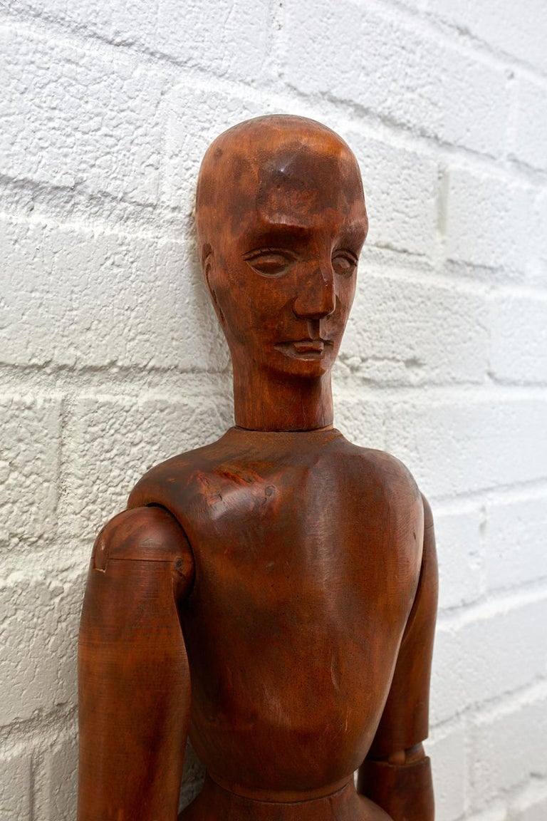 19th Century French Articulated Wood Artists Mannequin For Sale 2