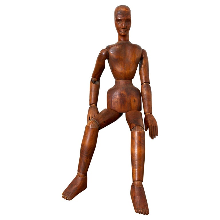 19th Century French Articulated Wood Artists Mannequin For Sale