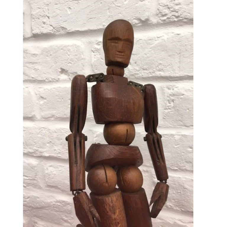 19th century French Articulated Wooden Artists Lay Figure, Mannequin on stand   Stunning wooden articulated lay figure from the 19th century in original condition. This item features metal pins, bolts and sprung joints. The figure is attached to a