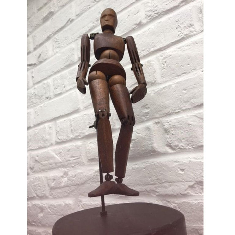 19th Century, French Articulated Wooden Artists Lay Figure, Mannequin on Stand For Sale 3