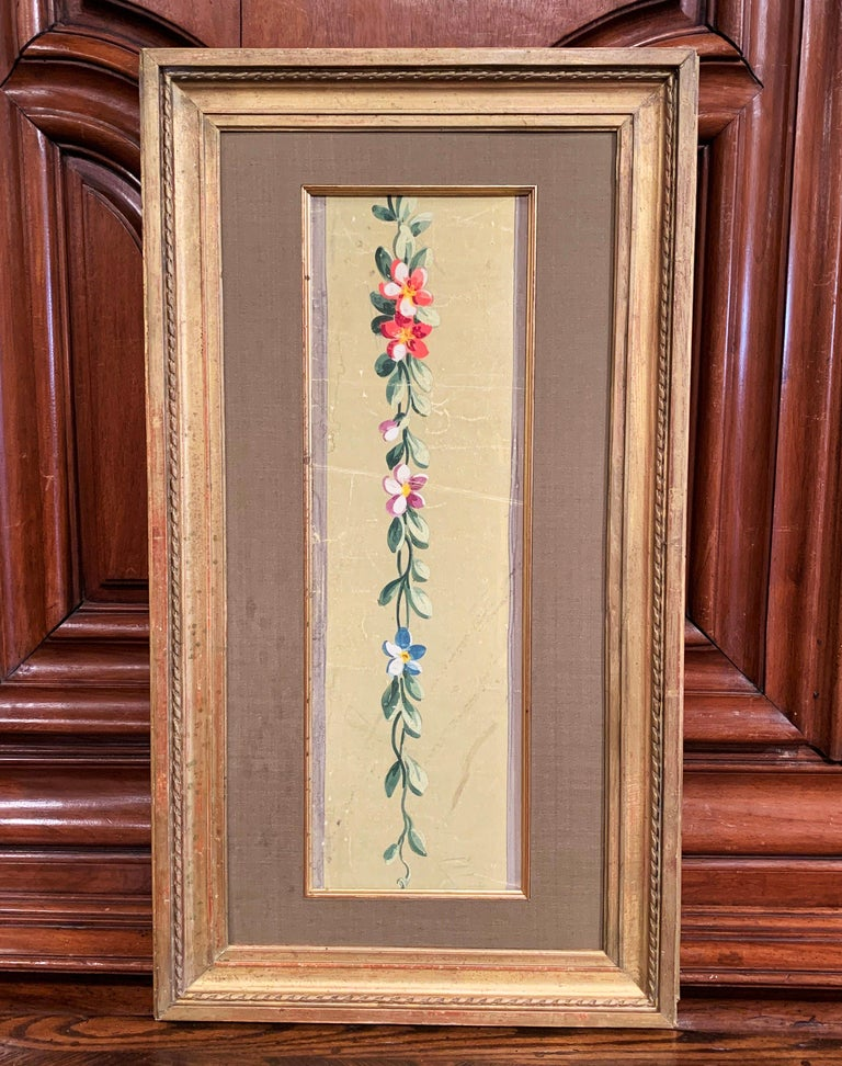 19th Century French Aubusson Floral Tapestry Gouache on Paper in Gilt Frame In Excellent Condition For Sale In Dallas, TX