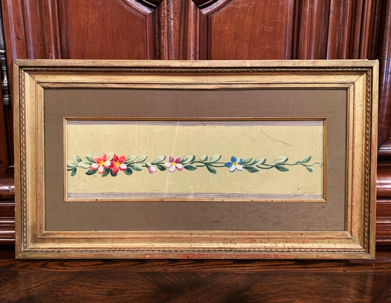 Giltwood 19th Century French Aubusson Floral Tapestry Gouache on Paper in Gilt Frame For Sale