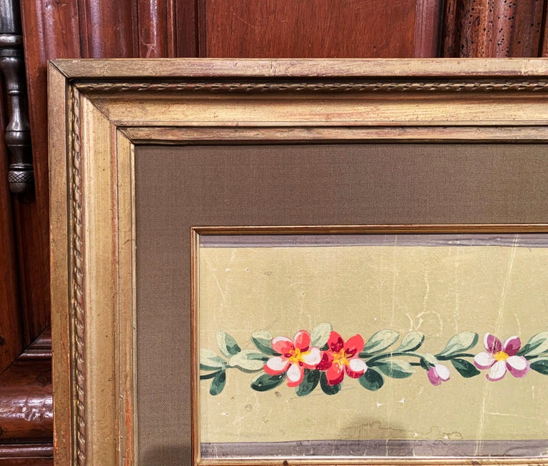 19th Century French Aubusson Floral Tapestry Gouache on Paper in Gilt Frame For Sale 1
