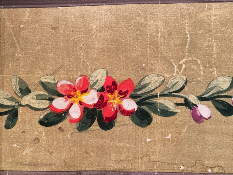 19th Century French Aubusson Floral Tapestry Gouache on Paper in Gilt Frame For Sale 2