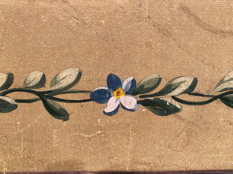 19th Century French Aubusson Floral Tapestry Gouache on Paper in Gilt Frame For Sale 3