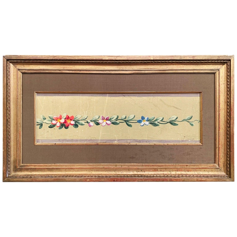 19th Century French Aubusson Floral Tapestry Gouache on Paper in Gilt Frame For Sale