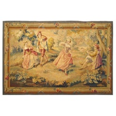 19th Century French Aubusson Romantic Rustic Tapestry