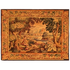 19th Century French Aubusson Rustic Pastoral Tapestry