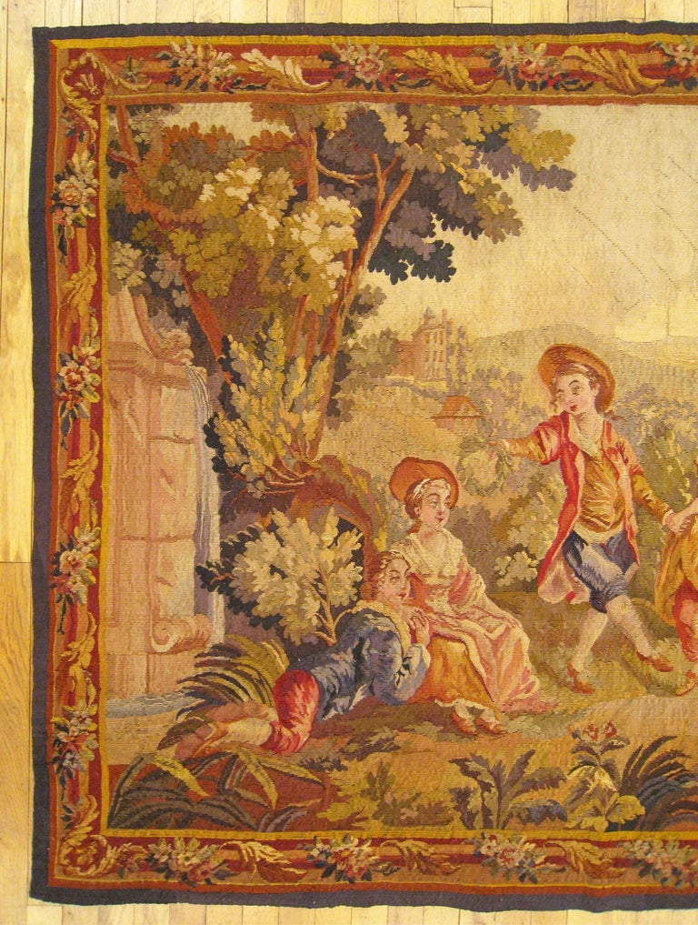 Hand-Woven 19th Century French Aubusson Tapestry For Sale