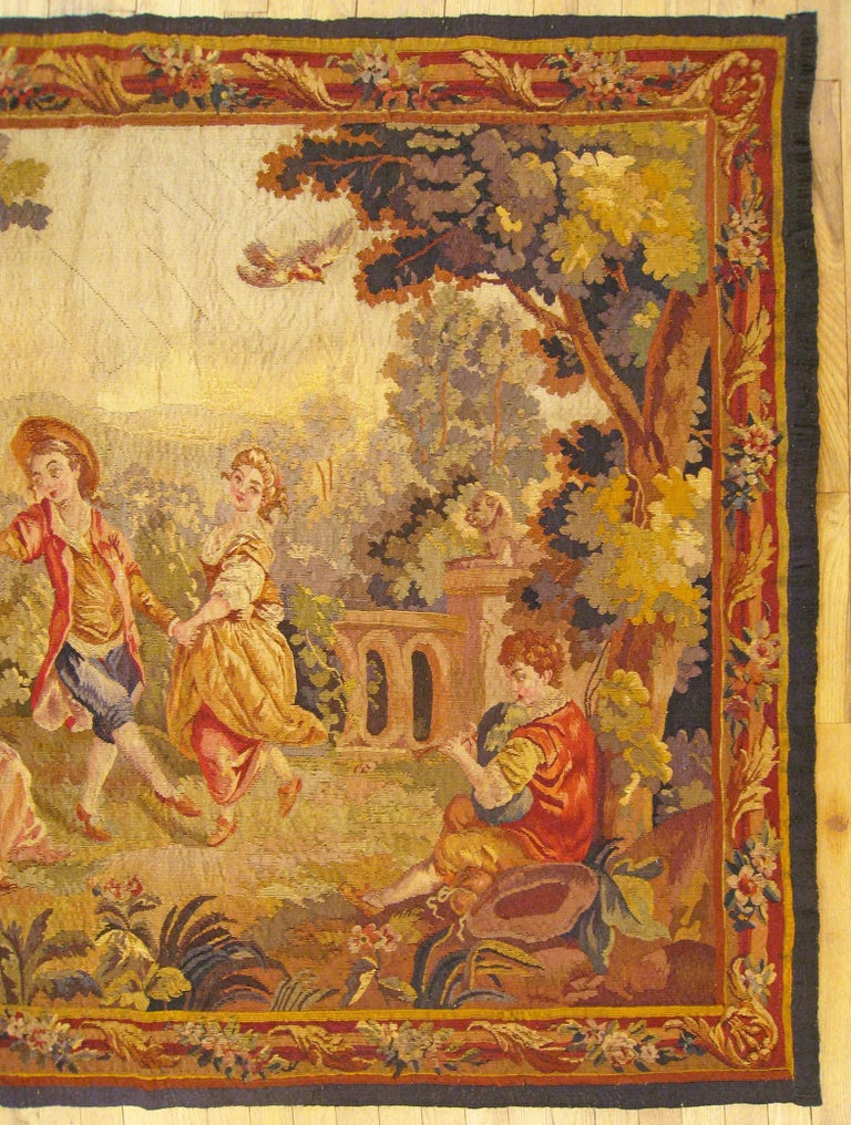 Wool 19th Century French Aubusson Tapestry For Sale