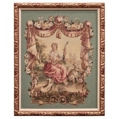 19th Century French Aubusson Tapestry Gouache on Paper in Carved Gilt Frame