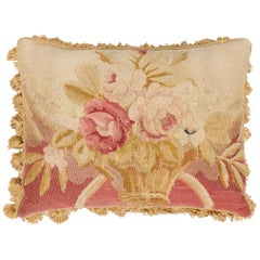 19th Century French Aubusson Tapestry Pillow with Floral Basket and Tassels
