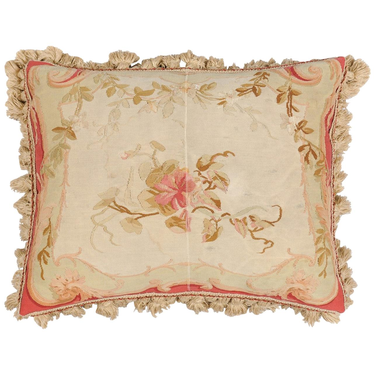 19th Century French Aubusson Tapestry Pillow with Floral Decor and Tassels