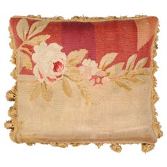 19th Century French Aubusson Tapestry Pillow with Roses and Tassels
