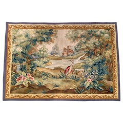 19th Century French Aubusson Verdure Tapestry with Birds, Foliage and Farmhouse