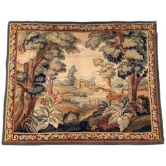 19th Century French Aubusson Verdure Tapestry with Castle, Pond and Foliage
