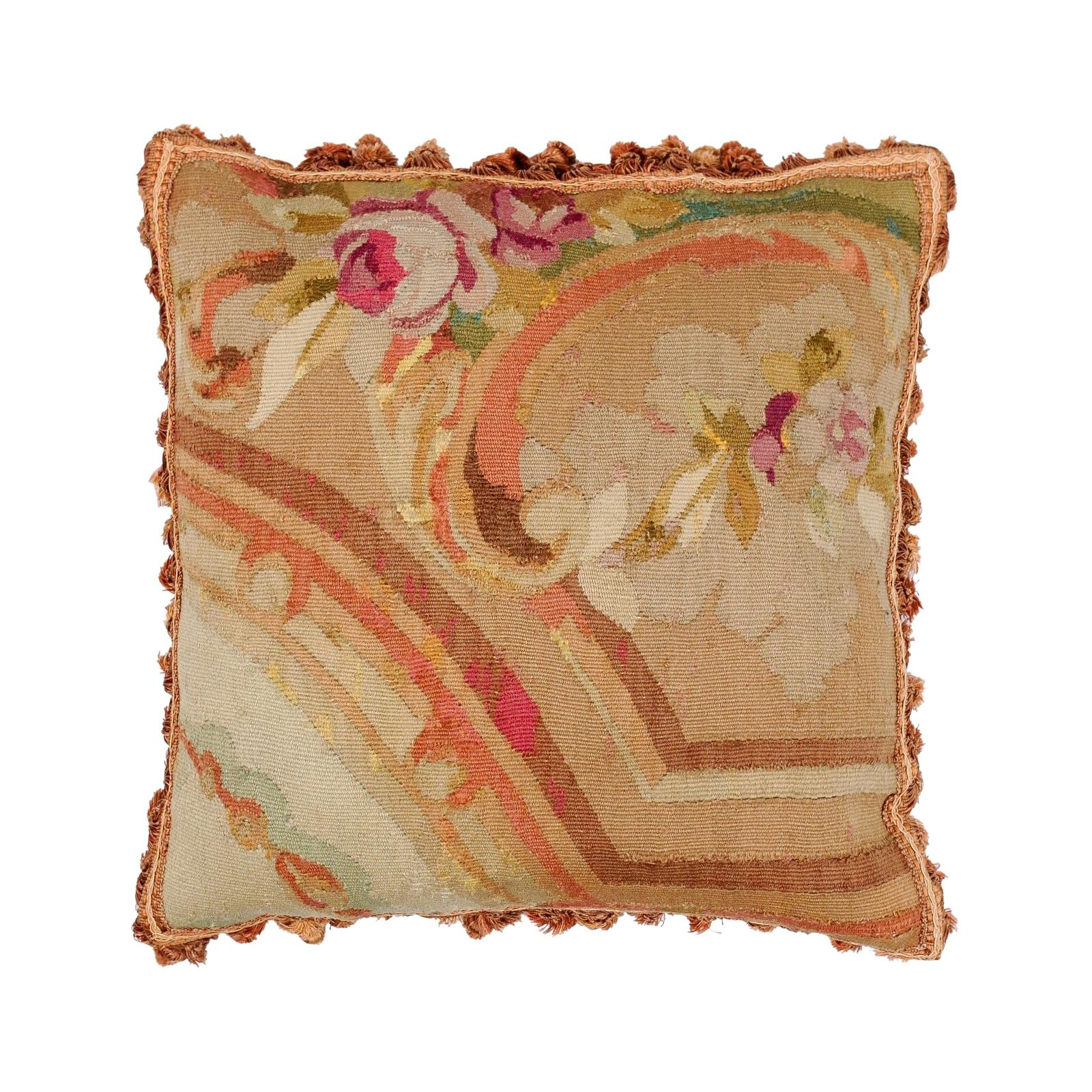 19th Century French Aubusson Woven Tapestry Pillow with Roses Decor and Tassels