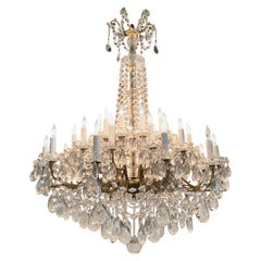 19th Century French Baccarat Bronze and Crystal 36-Light Chandelier