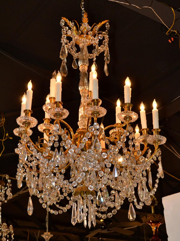 Bronze 19th Century French Baccarat Chandelier For Sale