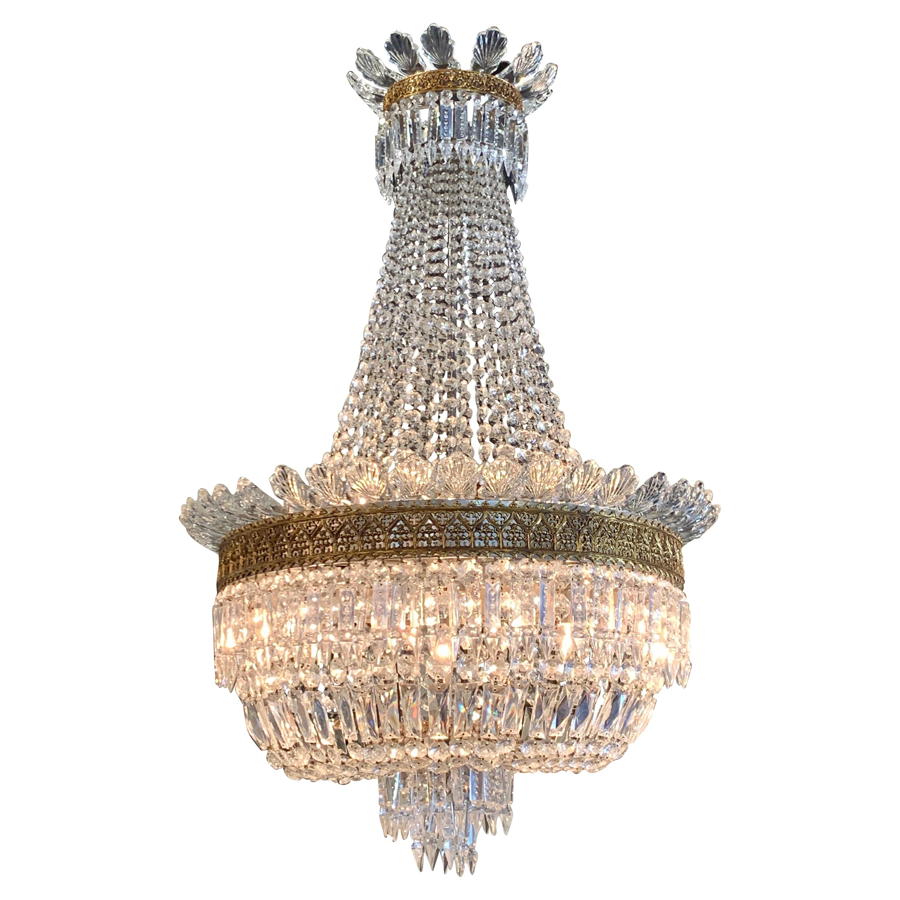 19th Century French Baccarat Crystal and Gilt Bronze Chandelier