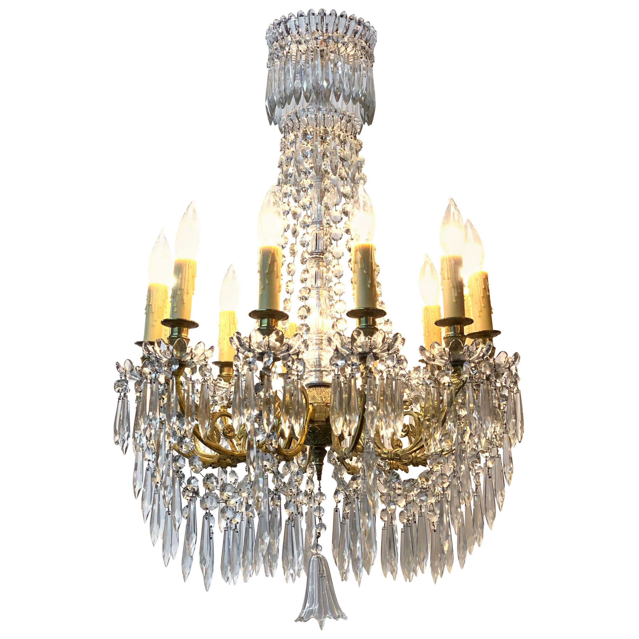 19th Century French Baccarat Gilt Bronze Crystal Chandelier