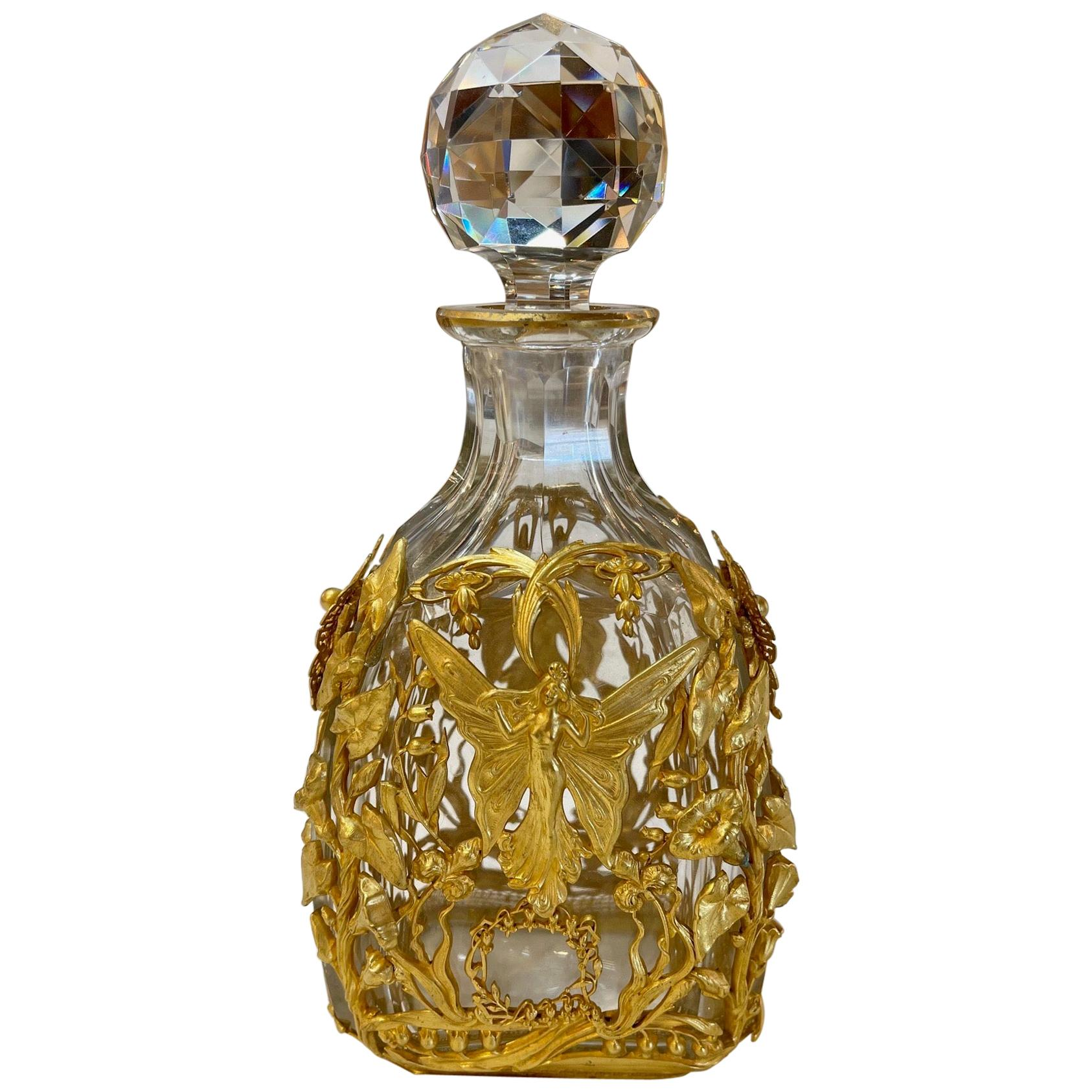 19th Century French Baccarat Style Bronze Dore Bottle