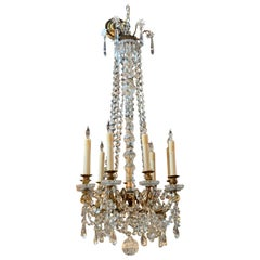 19th Century French Baccarrat Style Gilt Bronze and Crystal Chandelier