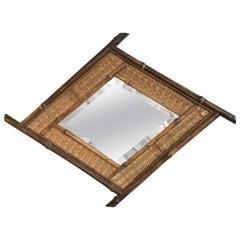 19th Century French Bamboo Diamond Rhombus Shape Mirror