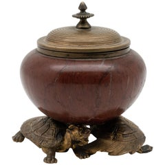 19th Century French Barbedienne Bronze and Marble Inkwell by Edouard Lièvre
