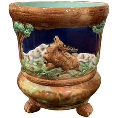 19th Century French Barbotine Ceramic Deer and Dog Cache Pot from Sarreguemines
