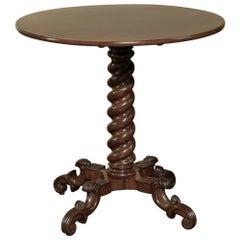 19th Century French Barley Twist Mahogany Lamp Table