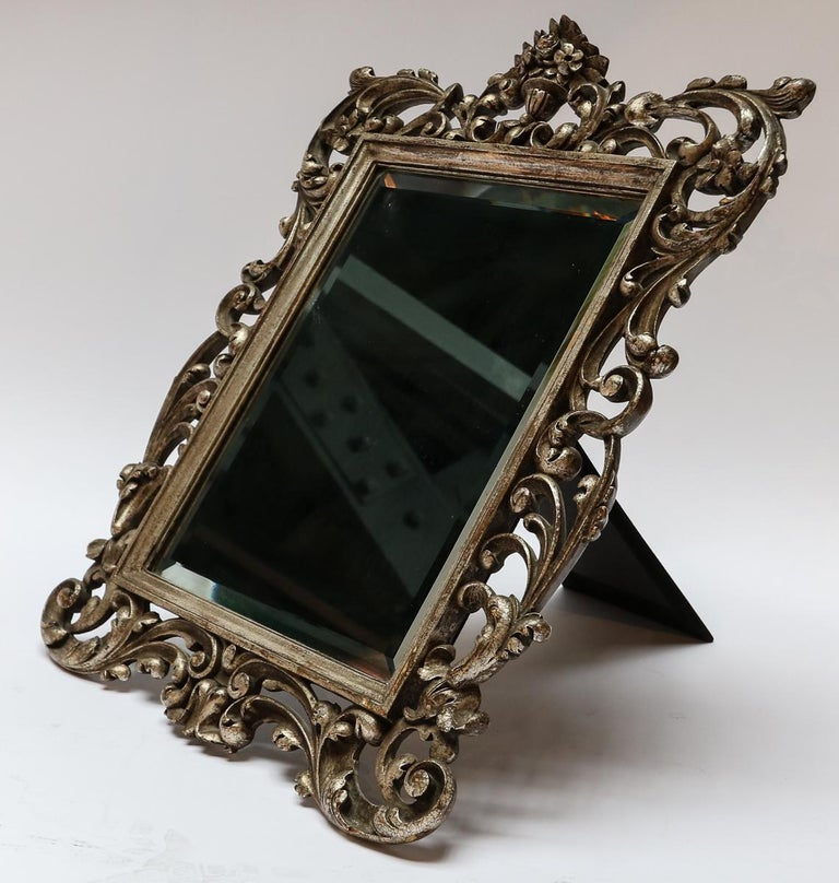 Silvered 19th Century French Baroque Giltwood Vanity or Wall Mirror For Sale