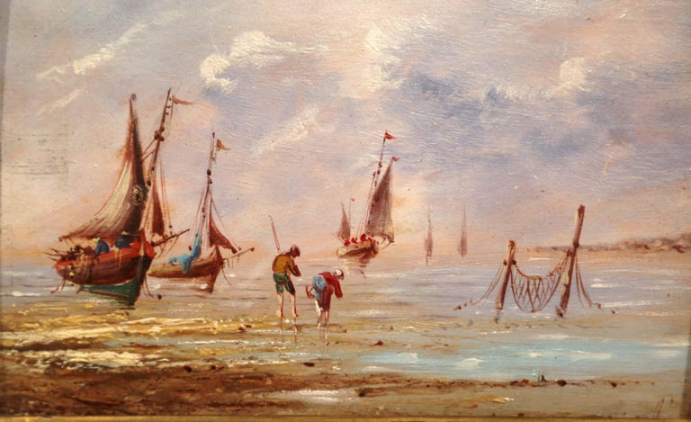 19th Century French Beach Oil Painting in Carved Gilt Frame In Excellent Condition For Sale In Dallas, TX