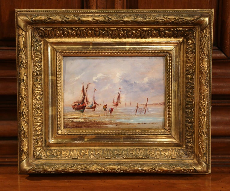 Giltwood 19th Century French Beach Oil Painting in Carved Gilt Frame For Sale