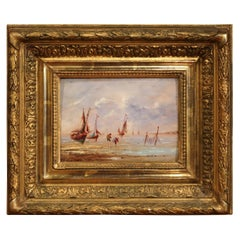 19th Century French Beach Oil Painting in Carved Gilt Frame
