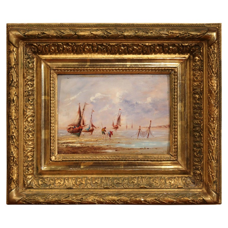19th Century French Beach Oil Painting in Carved Gilt Frame For Sale