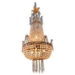 19th Century French Beaded Crystal and Amethyst Chandelier