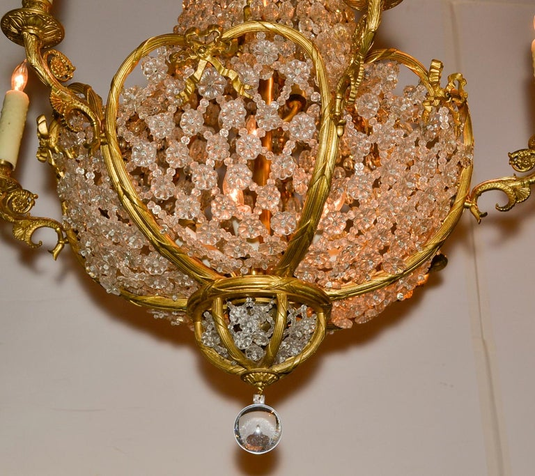 Great 19th century French 15-light gilt bronze and beaded crystal chandelier.