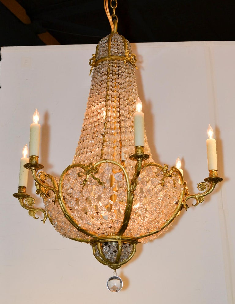 Gilt 19th Century French Beaded Crystal Chandelier For Sale