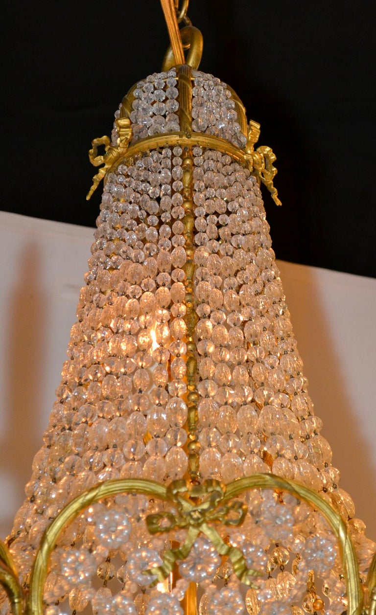 19th Century French Beaded Crystal Chandelier For Sale 1