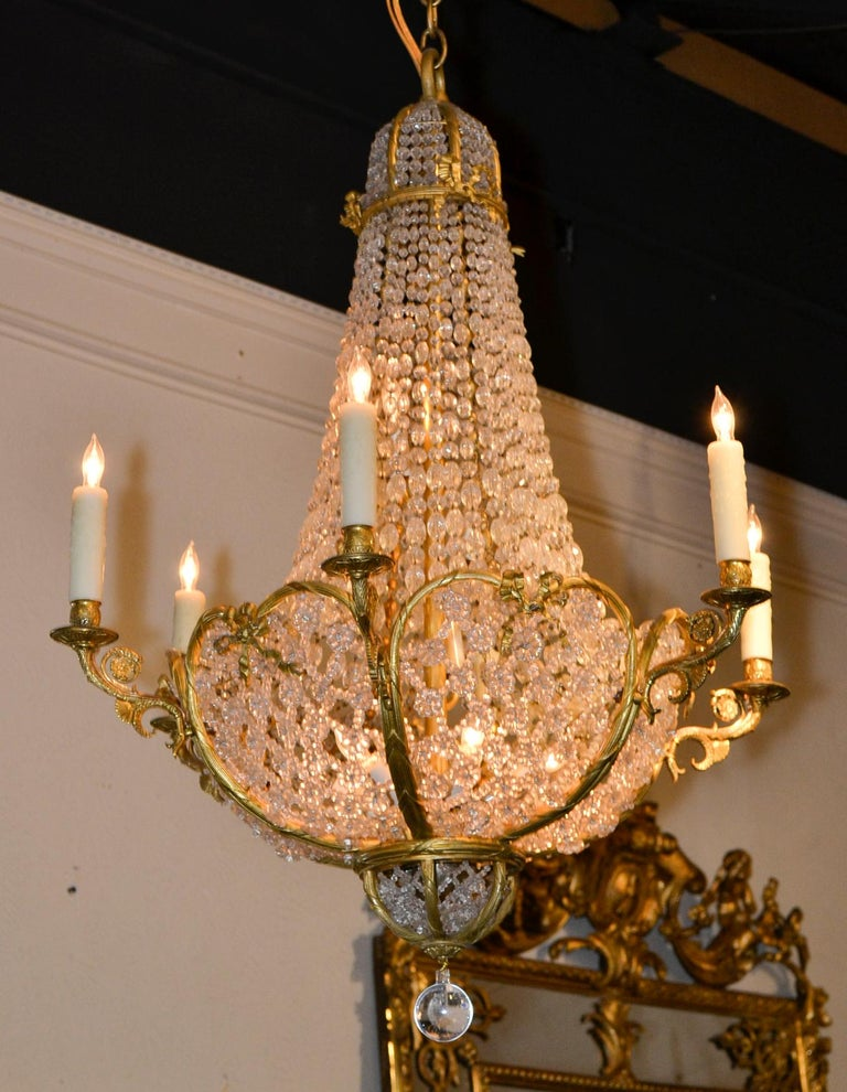 19th Century French Beaded Crystal Chandelier For Sale 4