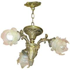 19th Century French Bedroom Three-Branch Chandelier Pendant