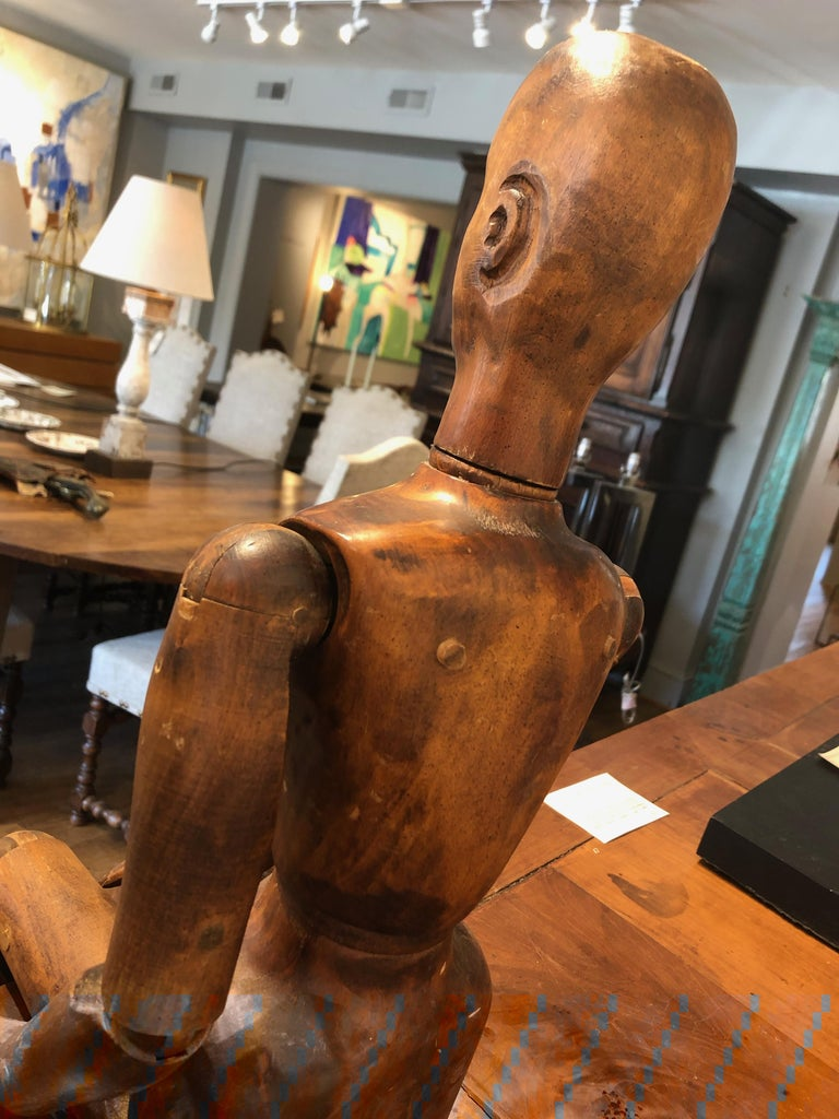 Hand-Carved 19th Century French Beechwood Artists Mannequin For Sale