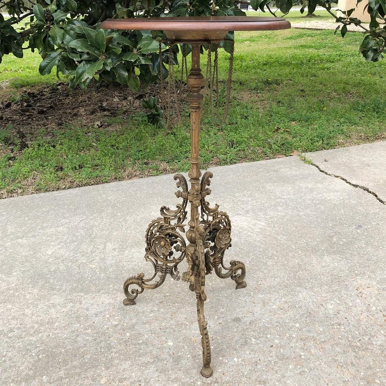 19th Century French Belle Époque Cafe Table with Painted Cast Iron Base For Sale 5