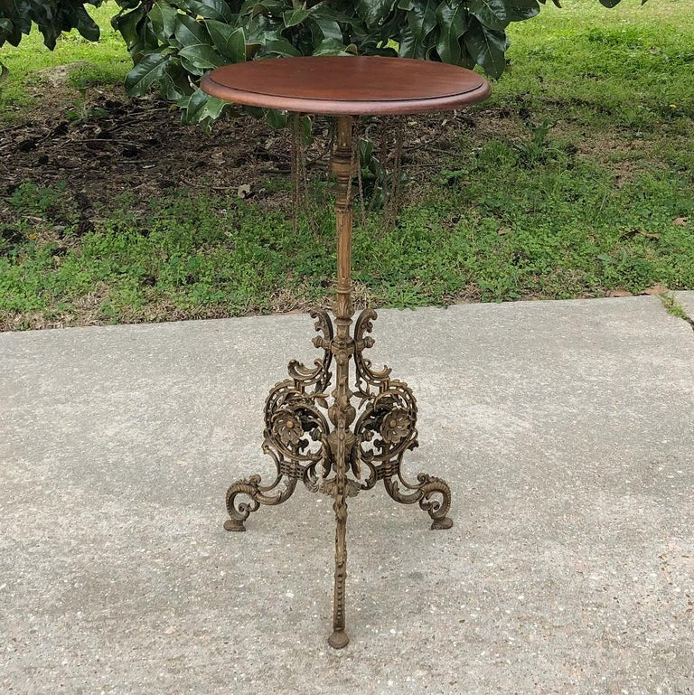 19th Century French Belle Époque Cafe Table with Painted Cast Iron Base For Sale 6