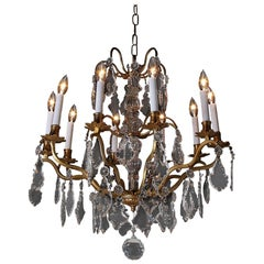 19th Century French Birdcage Bronze and Crystal Chandelier