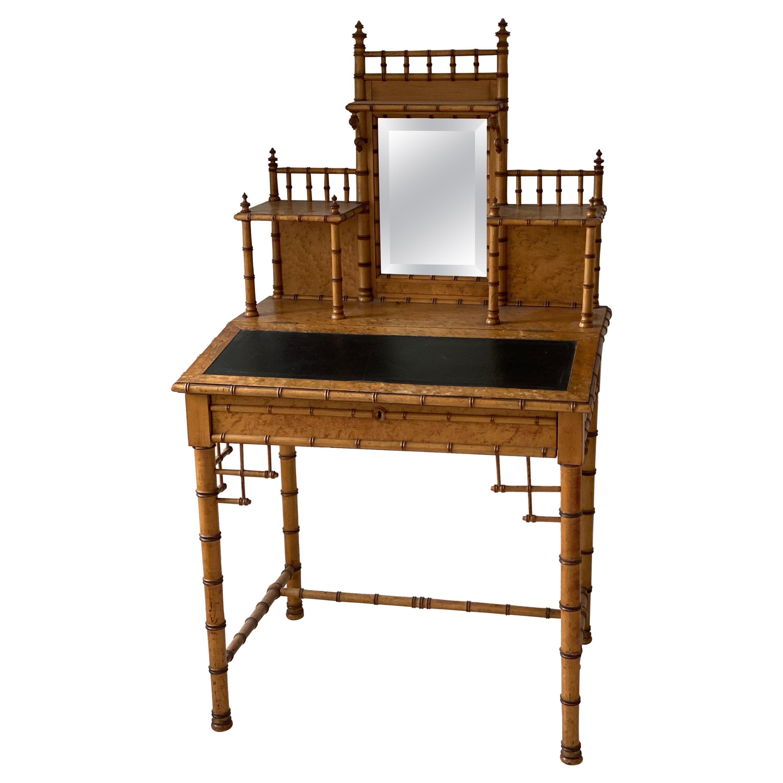 19th Century French Bird's-Eye Maple Faux Bamboo Ladies Writing Desk