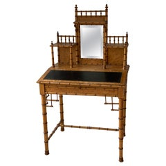 19th Century French Bird's-Eye Maple Faux Bamboo Ladies Writing Desk