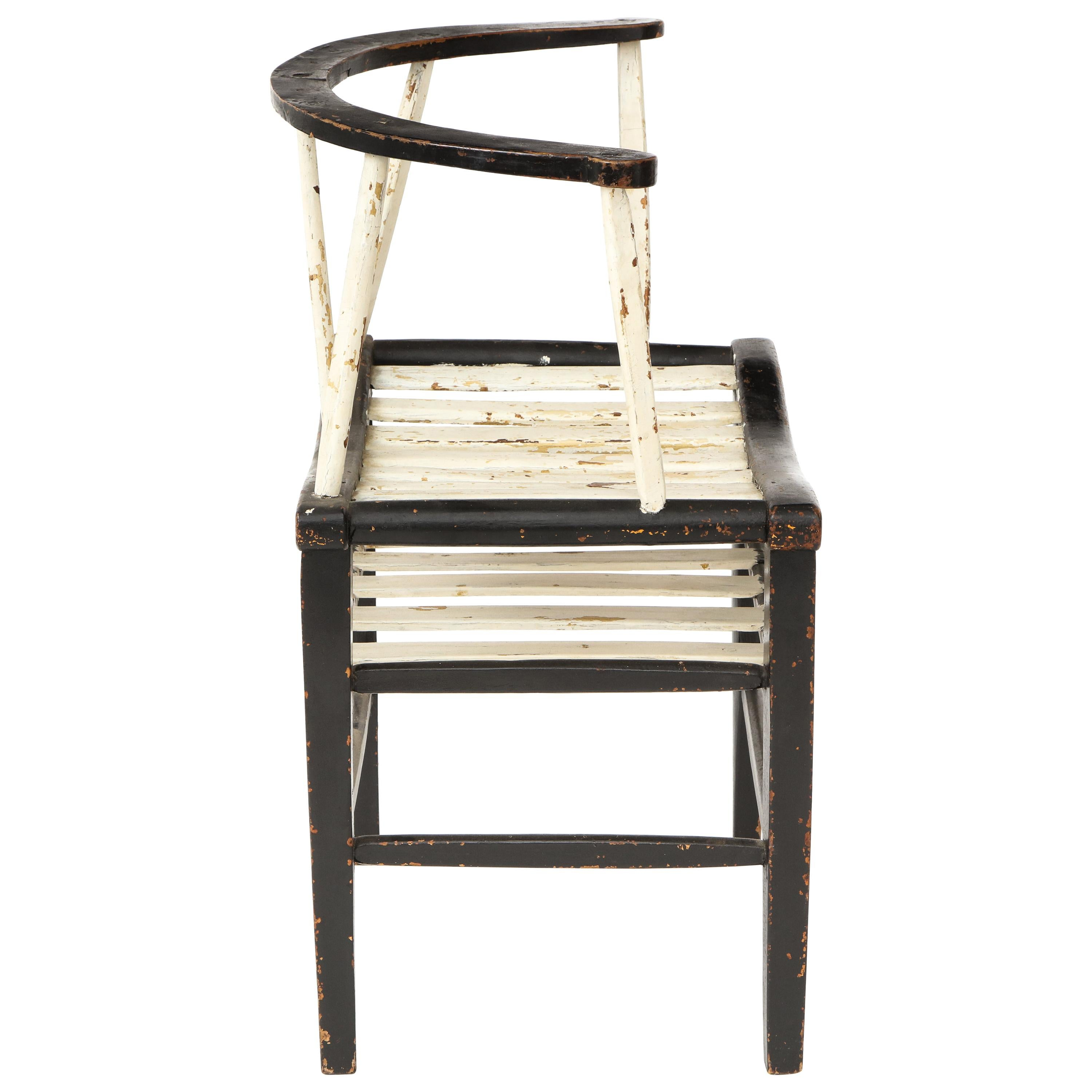 19th Century French Black and White Armchair